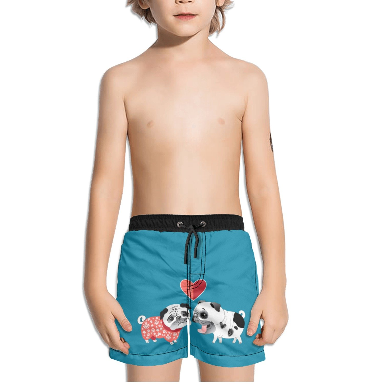Juliuse Marthar Love Dogs Pug Gifts Blue Swim Trunks Quick Dry Beach Board Shorts for Boys