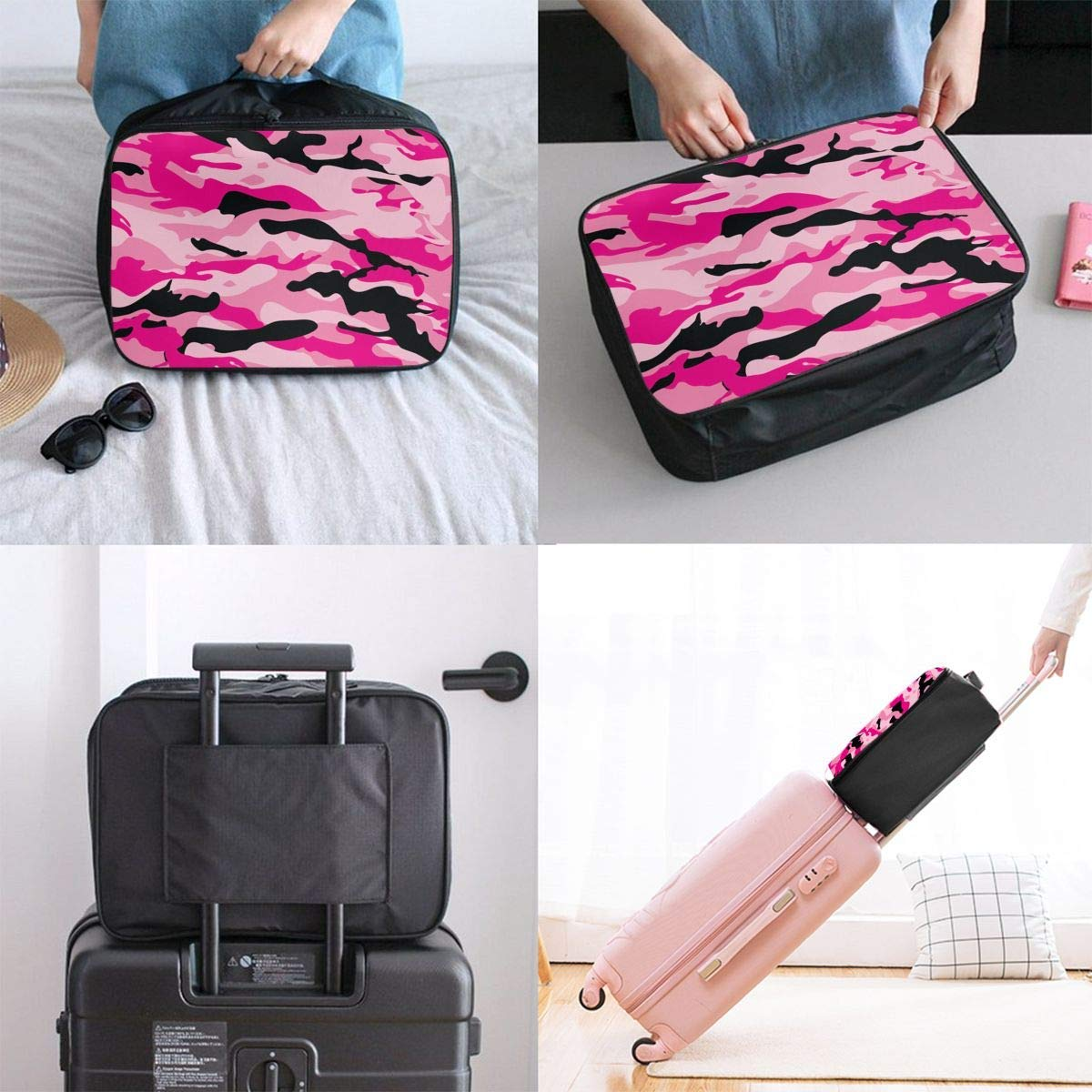 Military Army Camo Camouflage Black Pink Travel Lightweight Waterproof Foldable Storage Carry Luggage Duffle Tote Bag JTRVW Luggage Bags for Travel