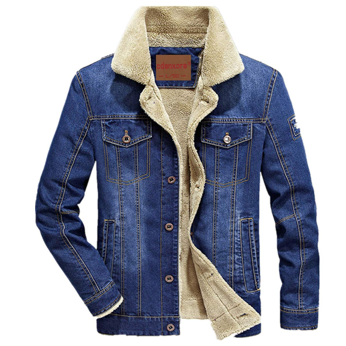 Herren Denim Jeansjacke mit Fell Jacke Mantel winterjacke Wintermantel für Winter 66009B