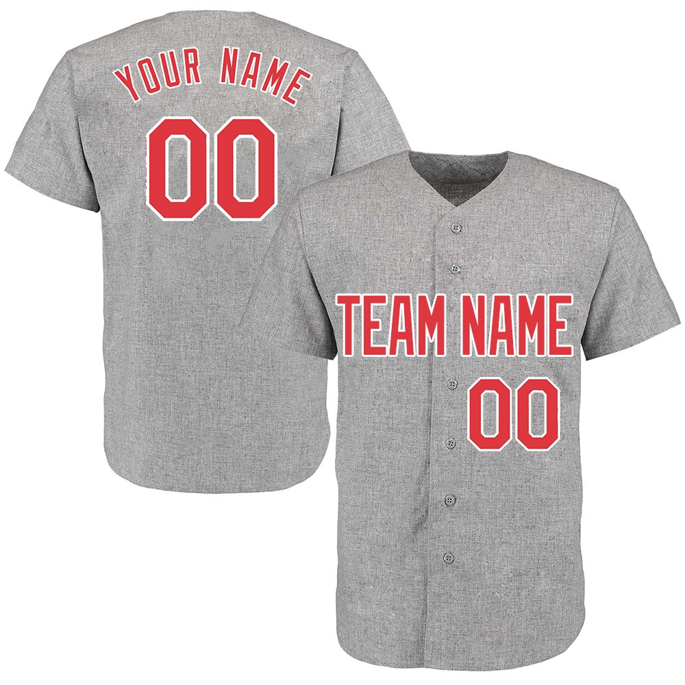 Custom Men's Gray Throwback Baseball Jerseys Button Down with Embroidered Team Name Player Name and Numbers,Red and White Size XL by DEHUI