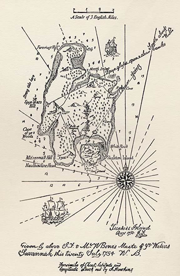 Map Of Treasure Island. From The Book Treasure Island By R.L. Stevenson. Thomas Nelson & Sons Edition C.1930. Poster Print (11 x 18): Amazon.it: Casa e cucina