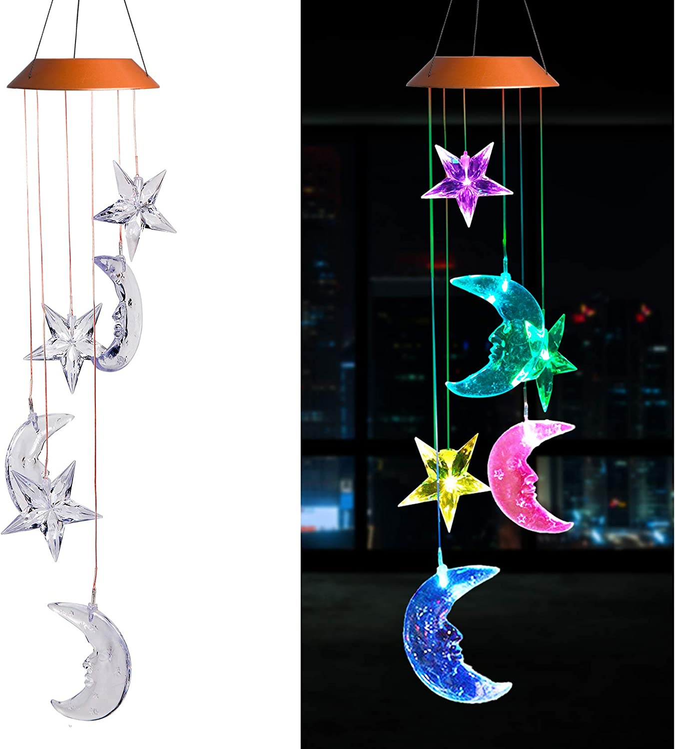 LED Solar Moon and Star Wind Chimes Outdoor - Waterproof Solar Mobile Romantic Changing Color Stars and Moon Wind Chimes Light Decor for Home, Gifts For Mom, Balcony, Festival, Night Garden Decoration : Garden & Outdoor
