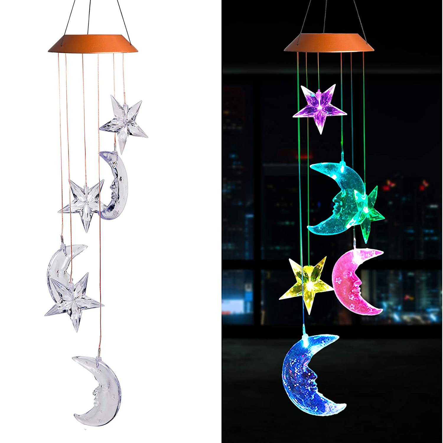 xxschy LED Solar Moon and Stars Wind Chimes Outdoor - Waterproof LED Changing Light Color Wind Chime, Six Moon and Stars Wind Chimes for Home, Party, Night Garden Decoration