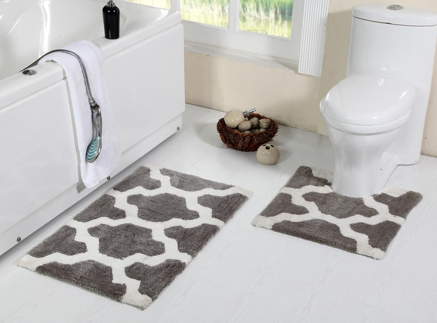 WARISI - Pedestal Collection - 2 Piece Designer Plush Quaterfoil Lattice Pattern Bath Rug + Contour (Toilet seat Foot Rug) (34''x21'', Grey)