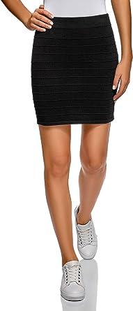 oodji Ultra Mujer Falda Básica de Punto Texturizado, Negro, ES 42 ...