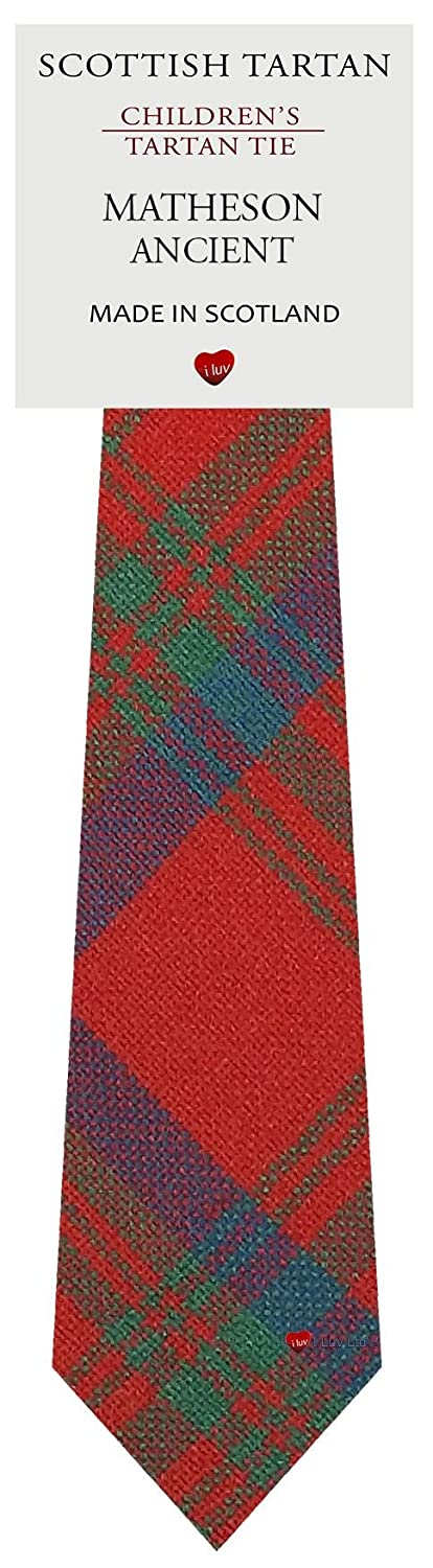 Boys Clan Tie All Wool Woven in Scotland Matheson Ancient Tartan I Luv Ltd