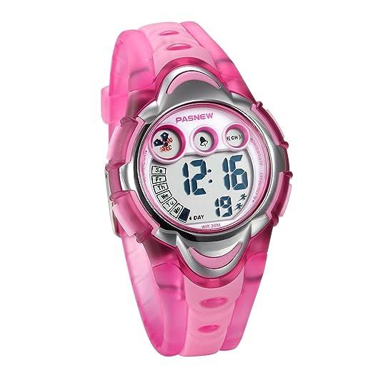 JewelryWe Relojes para Niños Niñas Reloj Deportivo Digital Para Aire Libre Reloj Infantil De Colores Transparente