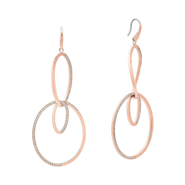 44e5a393bc25c Amazon.com  Michael Kors Womens Brilliance Rose Gold-Tone Drop Hoop Earrings