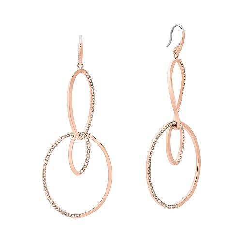 29d25e5c7f49 Michael Kors Womens Brilliance Rose Gold-Tone Drop Hoop Earrings ...