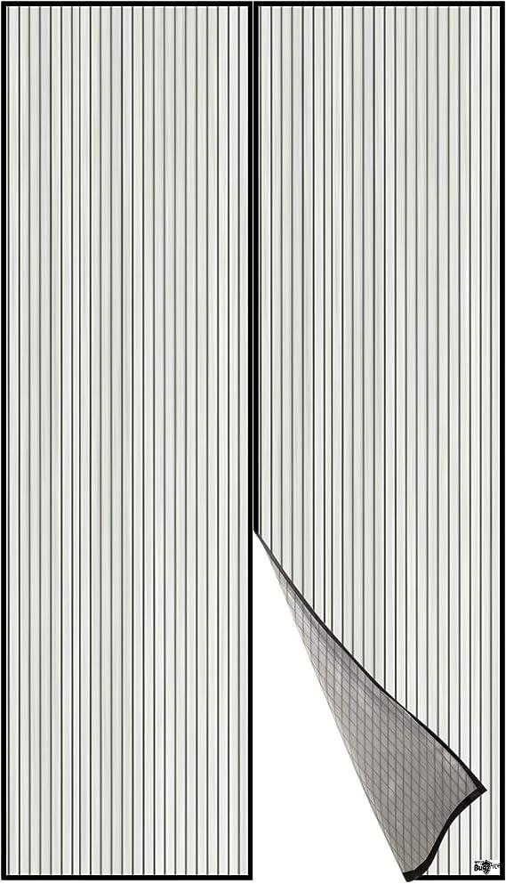 Moustiquaire /à Fermeture Aimant/ée,/Écran Magn/étique Rideau De Porte D/éfense Contre Moustiques Ou Insectes Convient Portes Jusqu/àKit DInstallation Complet Punaises Et Bande Adh/ésive Inclus(Blanc Noir)