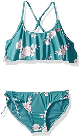 65bf72f59f Roxy Big Girls' Magical Flutter Swim Set, Brittany Blue Sample Eglantine,  ...