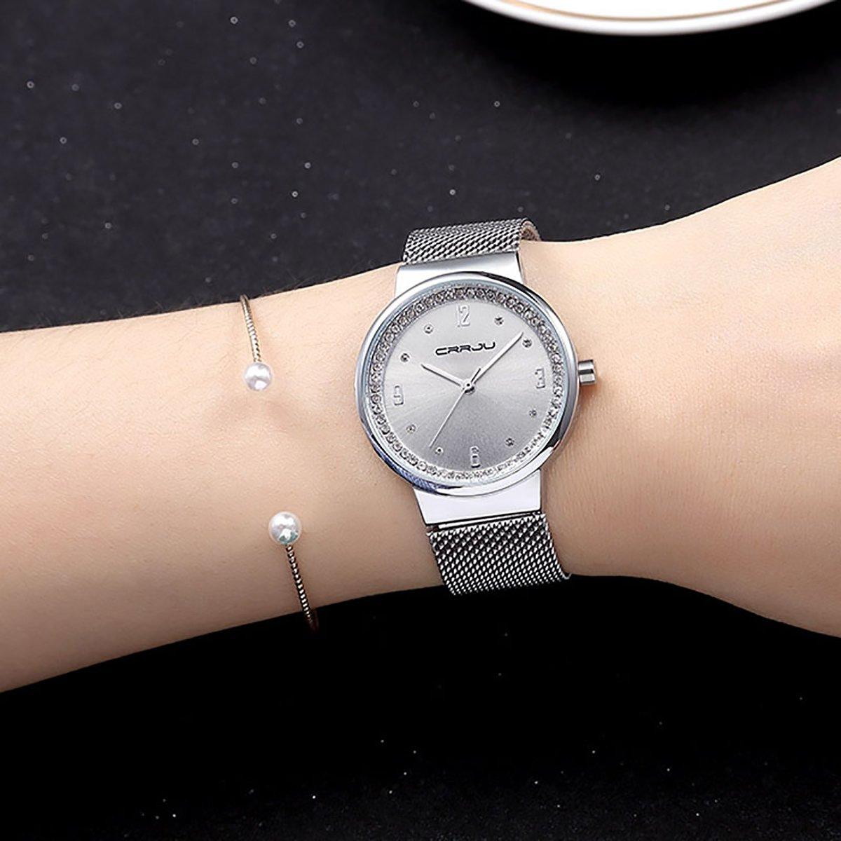 Modiwen, orologio da polso, da donna, con movimento al quarzo. Orologio con diamanti, acciaio lavorato a maglia. Orologio impermeabile, veste come un braccialetto. Orologi da donna per il tempo libero Sliver