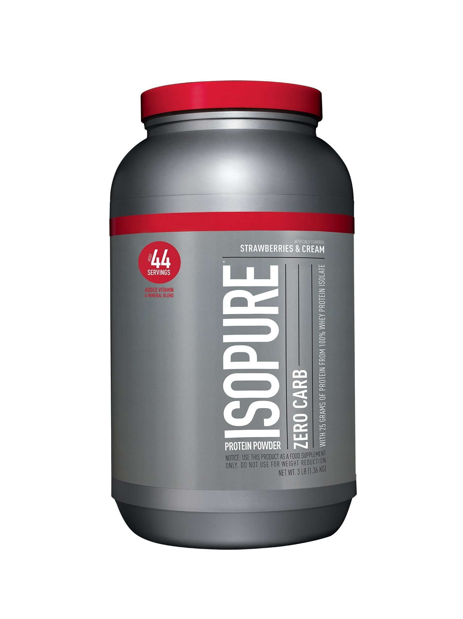 Isopure Zero Carb Protein Powder, 100% Whey Protein Isolate, Flavor: Strawberries & Cream, 3 Pounds (Packaging May Vary)
