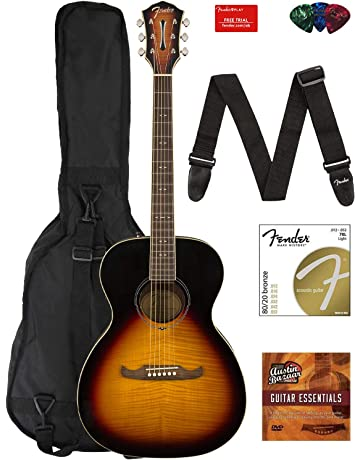 Fender FA-235E Concert Acoustic-Electric Guitar Bundle with Gig Bag, Strap,