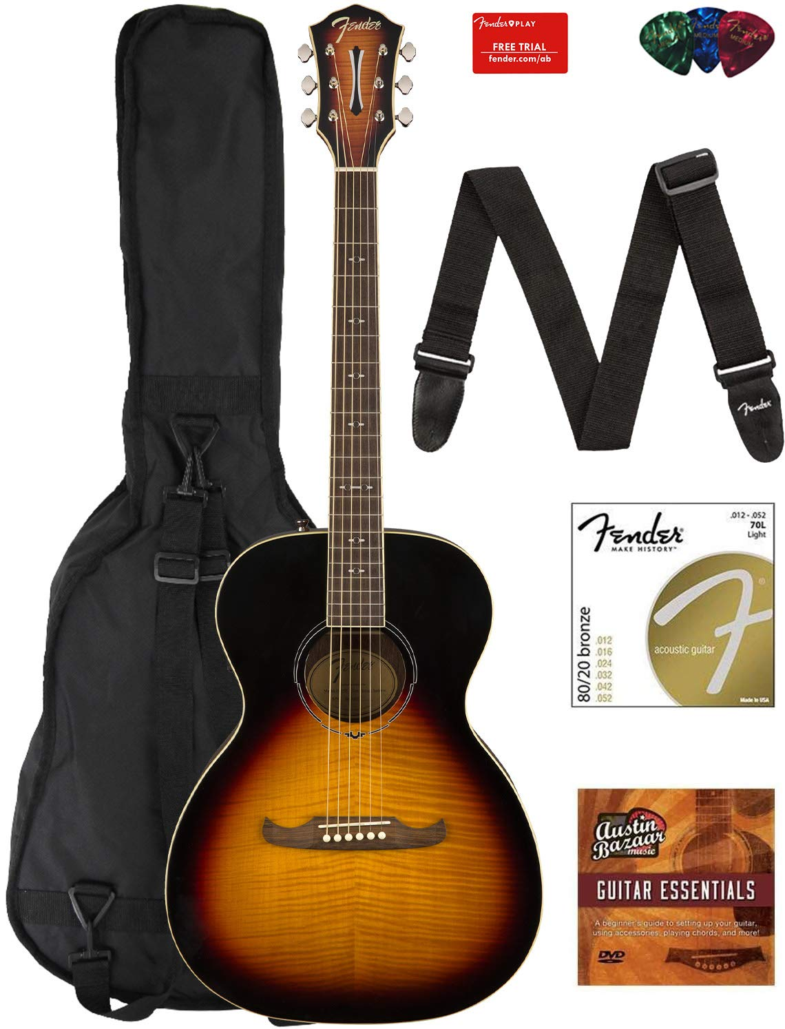 Fender FA-235E Concert Acoustic-Electric Guitar Bundle with Gig Bag, Strap, Strings, Picks, Fender Play Online Lessons, and Austin Bazaar Instructional DVD