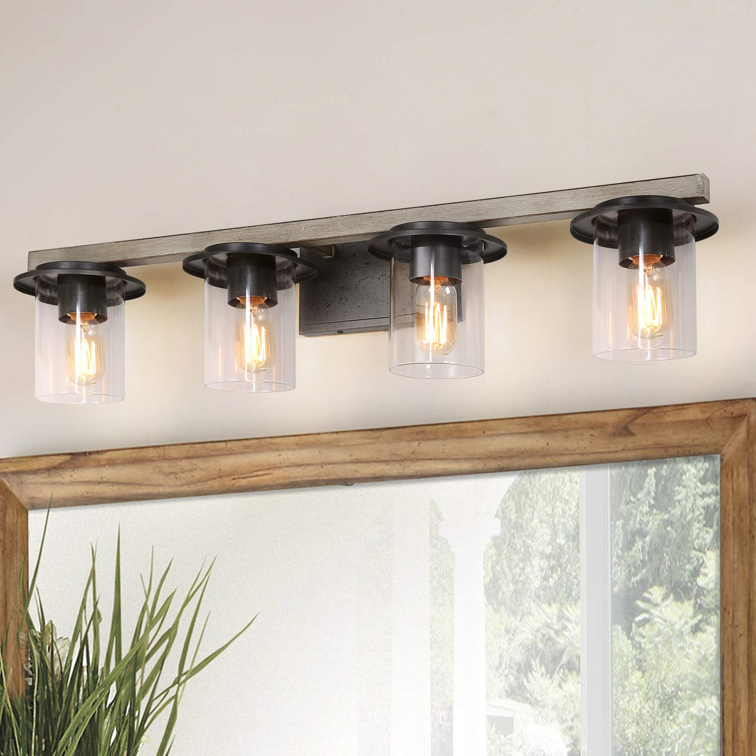 LALUZ Bathroom Light Fixtures, Faux Wood Bathroom Lights Over Mirror with Clear Glass Shades, 33 Inches -A03398