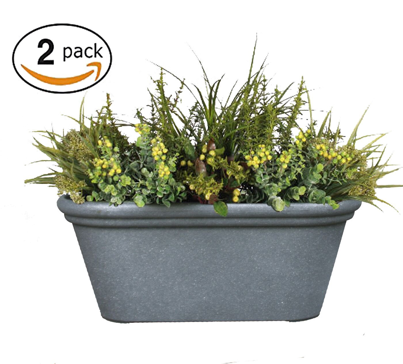 Flower Pot 2 Pack TerraBox Planter, 15 inch Window Box, Outdoor and Indoor, Unbreakable Grey for Mothers Day Gift