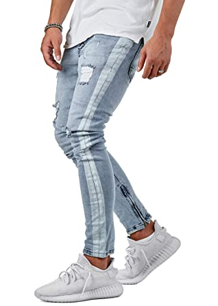 EightyFive Herren Destroyed Slim Fit Jeans Stripe Denim