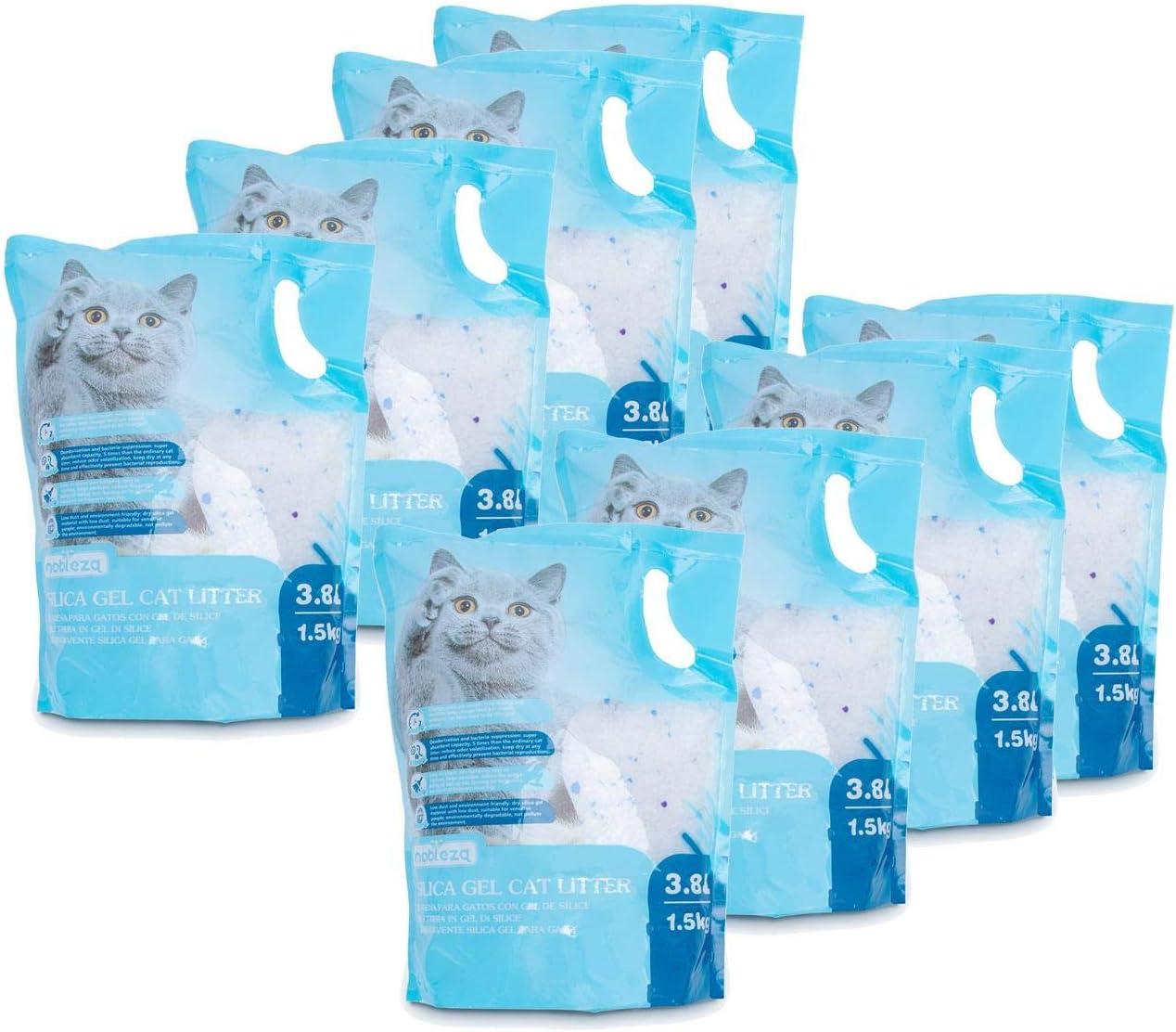 Nobleza - 8 x Arena para Gatos de sílice Camada para Gatitos de Gel de Diamante 3.8L Absorbente, Cómodo Biodegradable