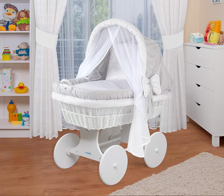 WALDIN Baby Bollerwagen,Stubenwagen,komplett mit Zubehör,XXL,Neu Weiß//Sterne
