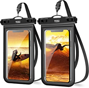 """YOSH Waterproof Phone Lanyard Pouch, Cell Phone Dry Bag Underwater for iPhone 11 Pro Max XR Xs X 8 7 6 SE Galaxy Pixel up to 6.8"""", IPX8 Water Proof Phone Case for Beach Kayaking Travel Bath (2-Pack)"""