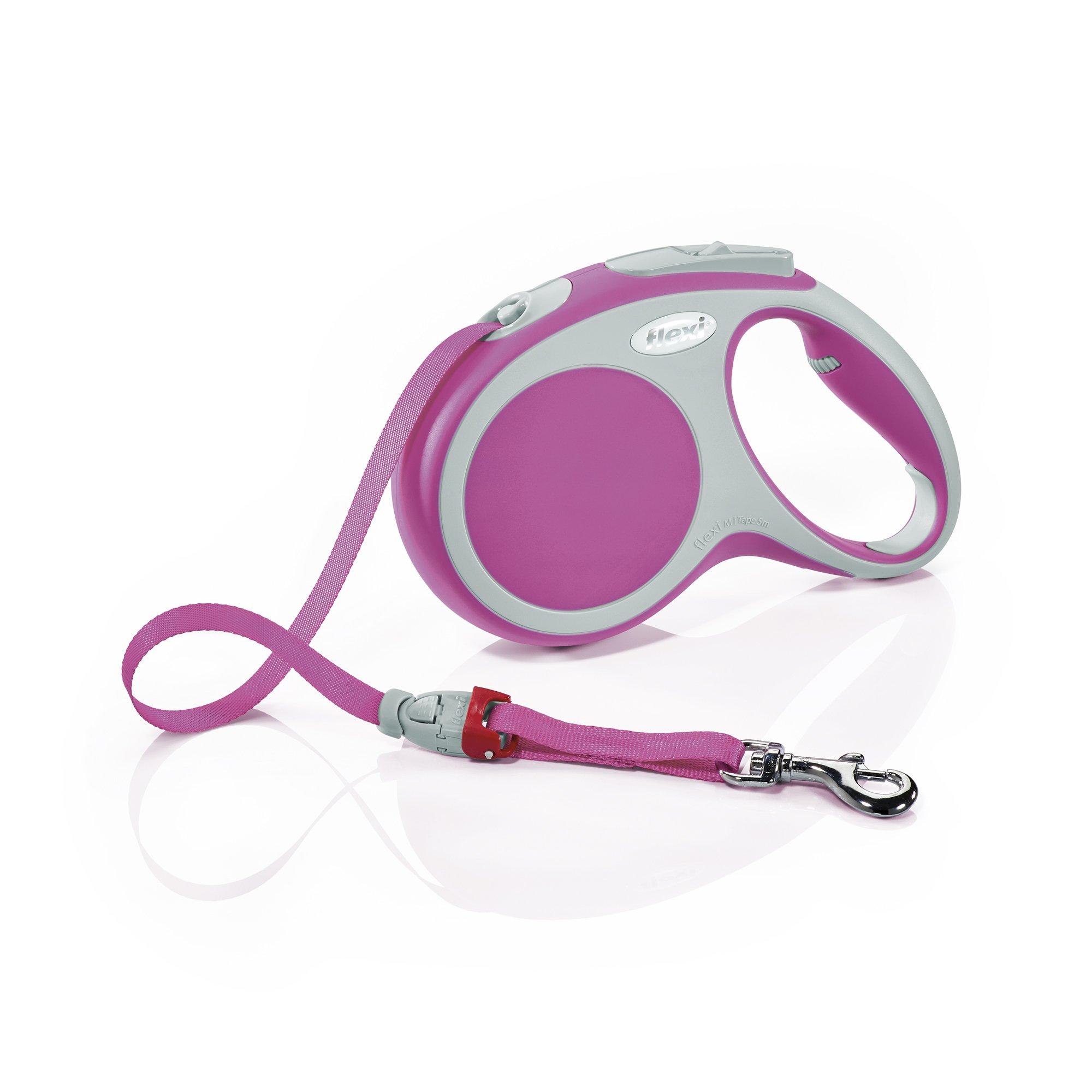 Flexi Vario Retractable Dog Leash (Tape), 16 ft, Medium, Pink
