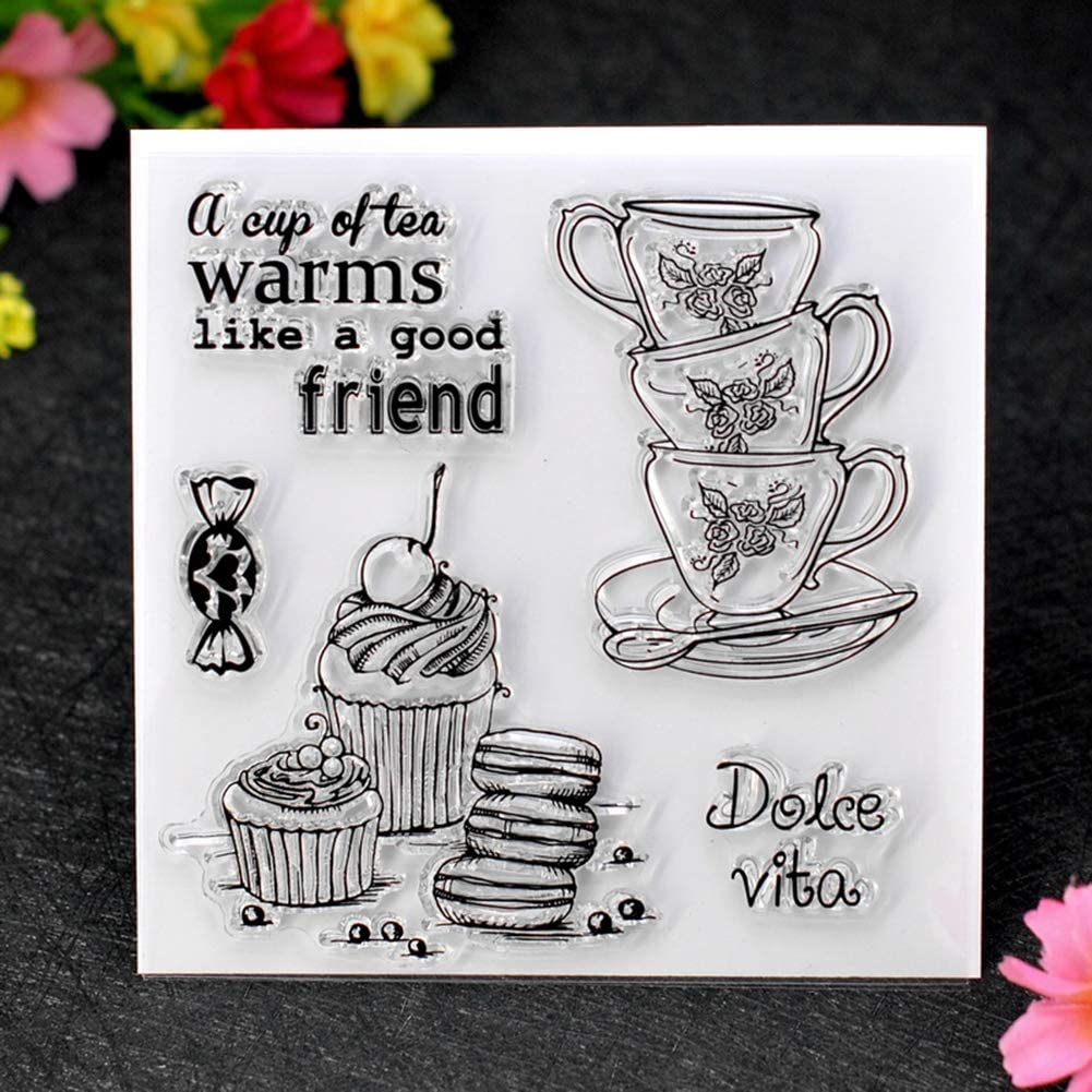 GUANGS Tea Cup Dessert Silicone Transparent Stamper DIY Scrapbook Cards Decor Tool