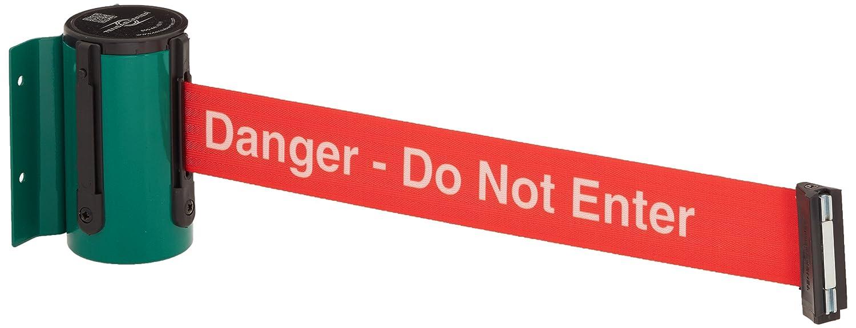 Tensabarrier 896-STD-28-STD-NO-RIX-D Green Standard Mount Wall Unit with Magnetic Belt End 4.5 Height 2.75 Length 2 Wide 3.75 Wide 76 Length Red Danger Do Not Enter Belt