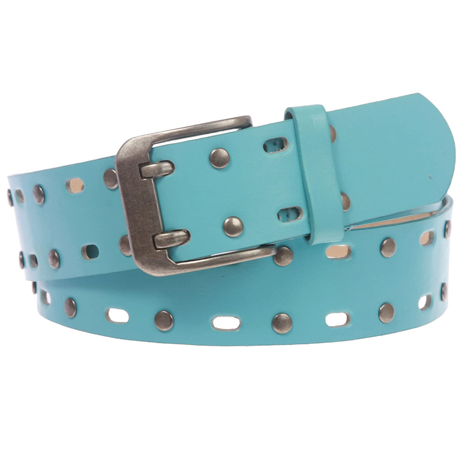 Two Row Circle Studded and Perforated Jean Belt for Women