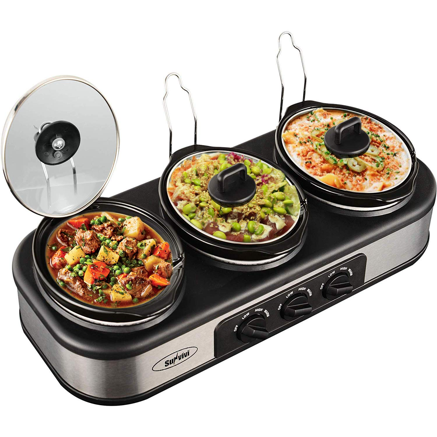 Triple Slow Cooker with Non-Skid Feet, 3 1.5 QT Slow Cooker Buffet Server, 3 Pots Food Warmer Adjustable Temp Lid Rests Stainless Steel Manual Silver for Parties Holidays Families
