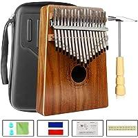 Kalimba 17 Teclas Thumb Piano Madera Maciza Finger Piano Portátil Música Instrumento Marimba con Caja Protección EVA para Niños Adultos Principiantes(KOA)