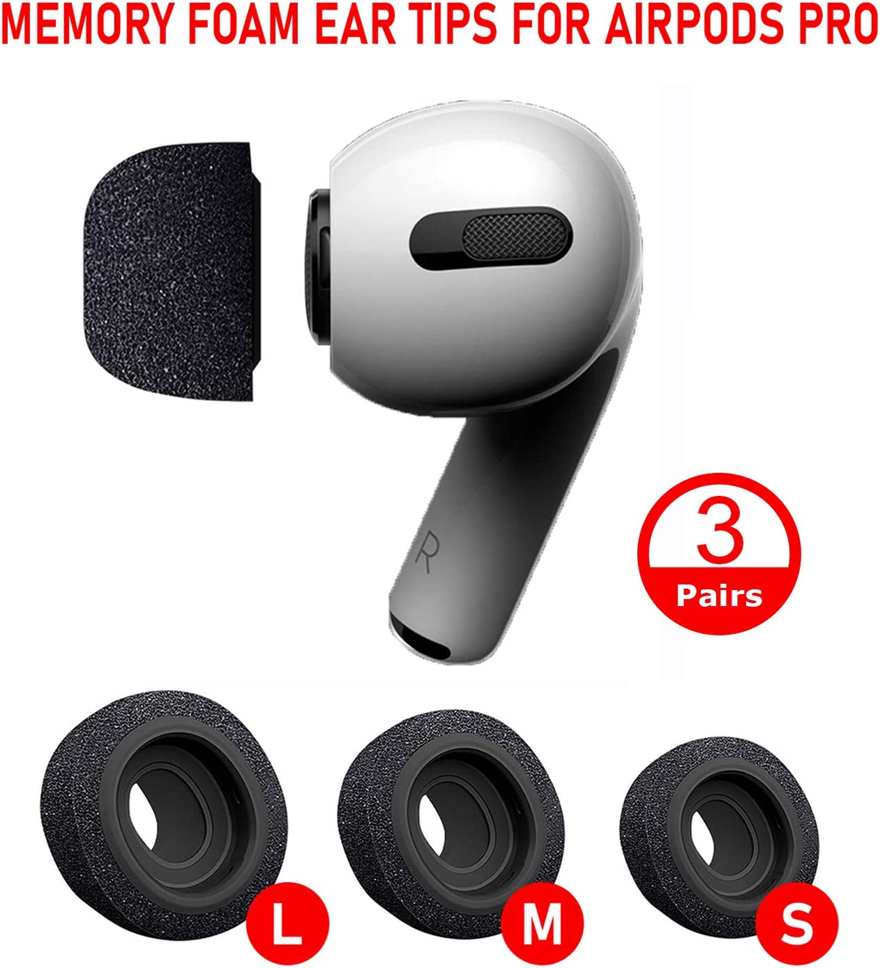 Memory Foam Ear Tips Compatible with AirPods Pro, Replacement Earbud Tips Covers, Anti-Slip Eartips, 3 Pairs (S, M, L) (Black)