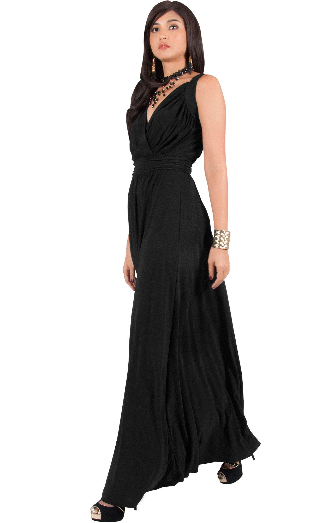 KOH KOH Womens Long Sleeveless Flowy Bridesmaids Cocktail Party Evening Formal Sexy Summer Wedding Guest Ball Prom Gown Gowns Maxi Dress Dresses, Black L 12-14 by KOH KOH (Image #5)