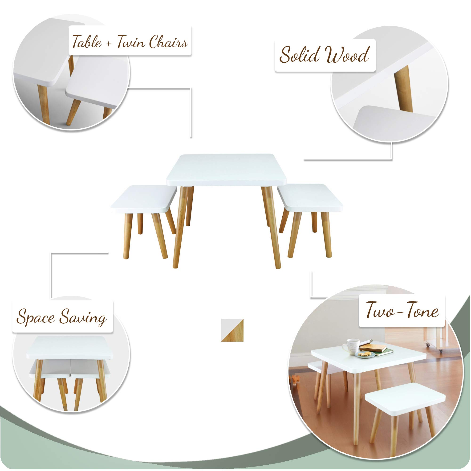 American Trails 560-31 The Easel Table & Chair Set Kid Table, Two-Tone (White, Natural) by American Trails (Image #3)