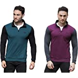 Dream of Glory Inc. Men's Cotton Full Sleeve Quarter-Zip High Neck Winter Wear Sweatshirts for Men Also in Plus Sizes: XS - 9XL (Pack of 1 or 2)