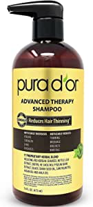 PURA D'OR Advanced Therapy Shampoo Reduces Hair Thinning and Increase Volume, Infused with Premium Organic Argan Oil & Aloe Vera, 16 Fl Oz