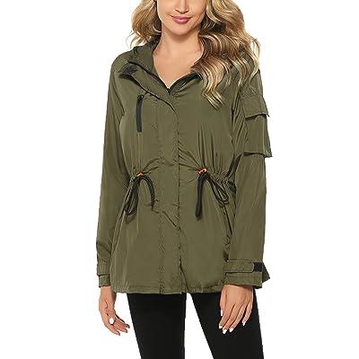 Abollria Raincoats Waterproof Rain Jacket Active Outdoor Detachable Hooded Windbreaker Women's Rain Coats: Clothing