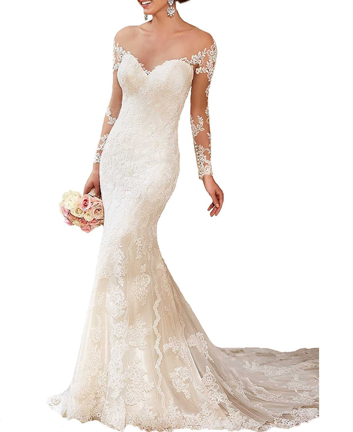 RightBride Women's White Vintage 2017 Long Sleeves Mermaid Wedding Dresses for Bride Lace Gowns Size 4