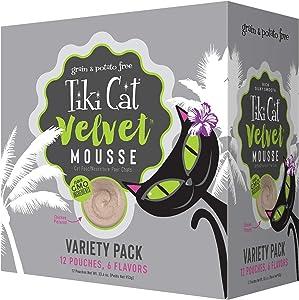 Tiki Cat Velvet Mousse Variety Pack Wet Cat Food, 2.8 oz., Case of 12