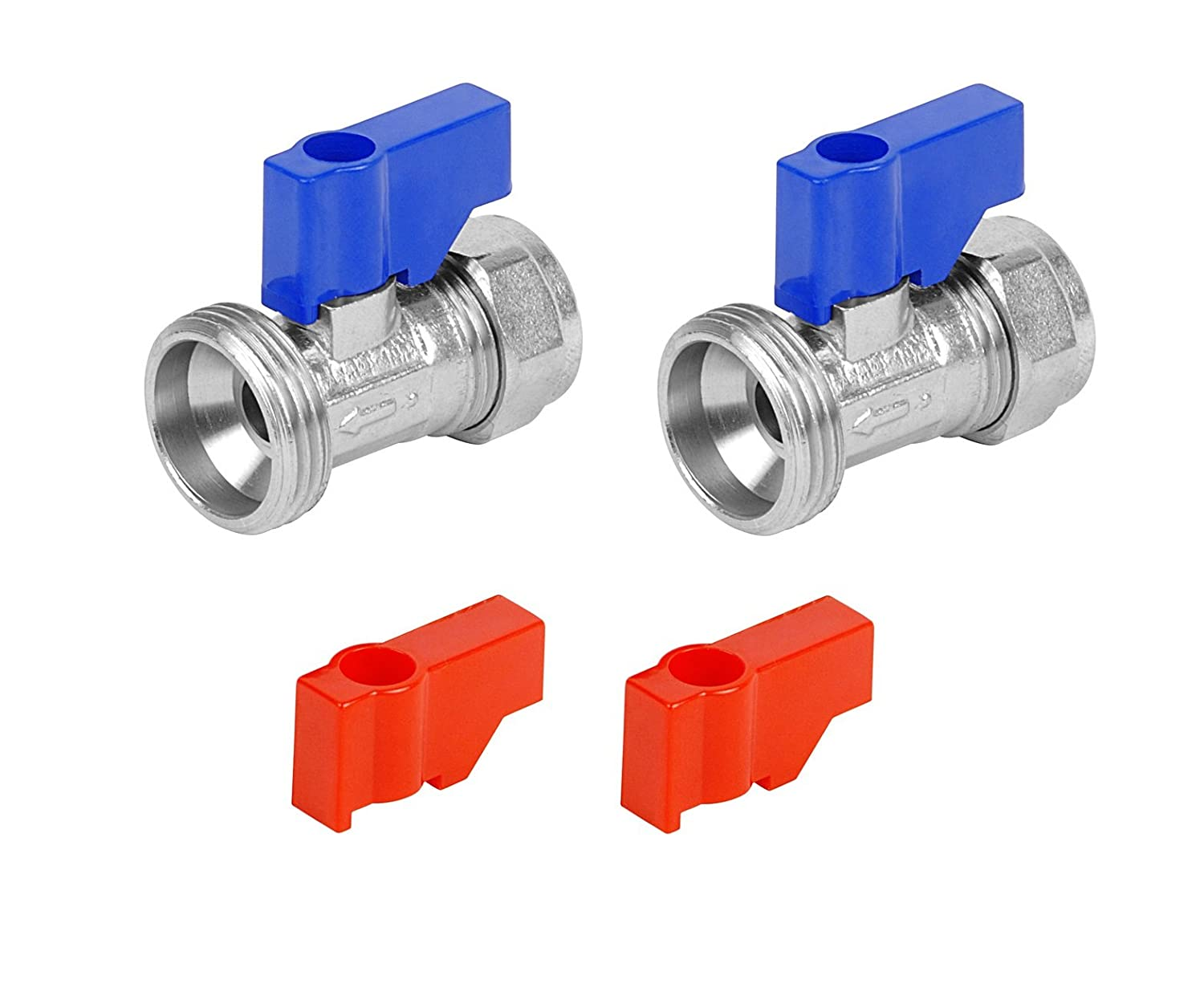 Invero® Pair of Hose Taps Straight for Washing Machines 15mm x 3/4' Includes 2x Blue Handles and 2x Red Handles (Hot and Cold) Invero®