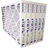 16x25x2 MERV 11 (Actual Size 15-1/2 x 24-1/2 x 1-3/4) Pleated Furnace Air Filter, 6 Pack