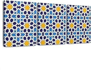 Beatowll Art Bathroom Bar Waterproof Byzantine-Moroccan-Muslim-Mosaic-Blue- Canvas Painting Wall Decoration Poster Wall Art Decor Framed3 Pieces