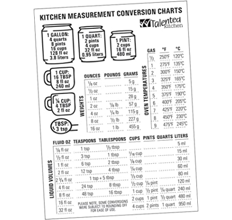 Magnetic Kitchen Conversion Charts By Talented Kitchen Magnet Size 7 X 5 Includes Weight Conversion Chart Liquid Conversion Chart And Temperature Conversion Chart Premium Magnetic Vinyl On Fridge Kitchen Tools Gadgets