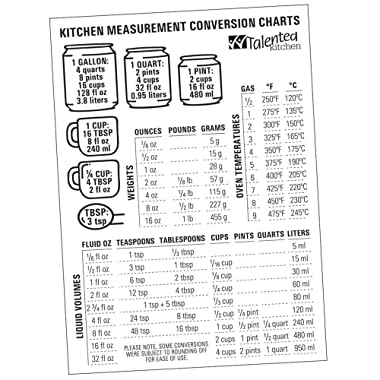 Magnetic Kitchen Conversion Charts by Talented Kitchen. Magnet Size 7  x 5  Includes Weight Conversion Chart, Liquid Conversion Chart and Temperature Conversion Chart. Premium Magnetic Vinyl on Fridge
