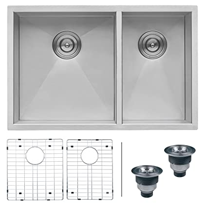 Ruvati 29 Inch Undermount 60 40 Double Bowl Zero Radius 16 Gauge Stainless Steel Kitchen Sink Rvh7200