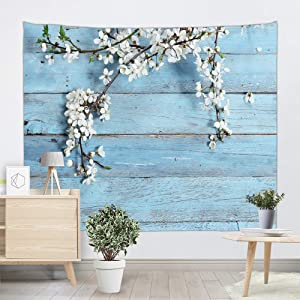 DEQI Vintage Planks with White Flower Tapestry Wall Hanging Wooden Board Sky Blue Wall Tapestry Nature Spring for Livingroom Bedroom Dorm Home Decor W90 x L71