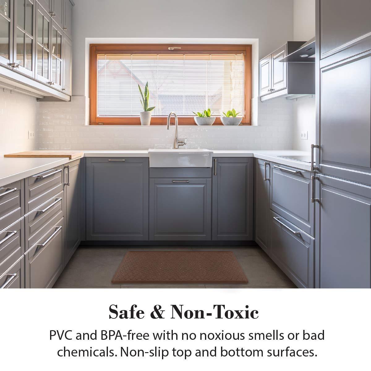 Durable WellnessMats Trellis Anti-Fatigue Non-Slip Comfort /& Support Mat 2x6x3//4 Antique Light Non-Toxic Non-Toxic 2/'x6/'x3//4 Antique Light WellnessMats Kitchen Mats MT62WMRLT