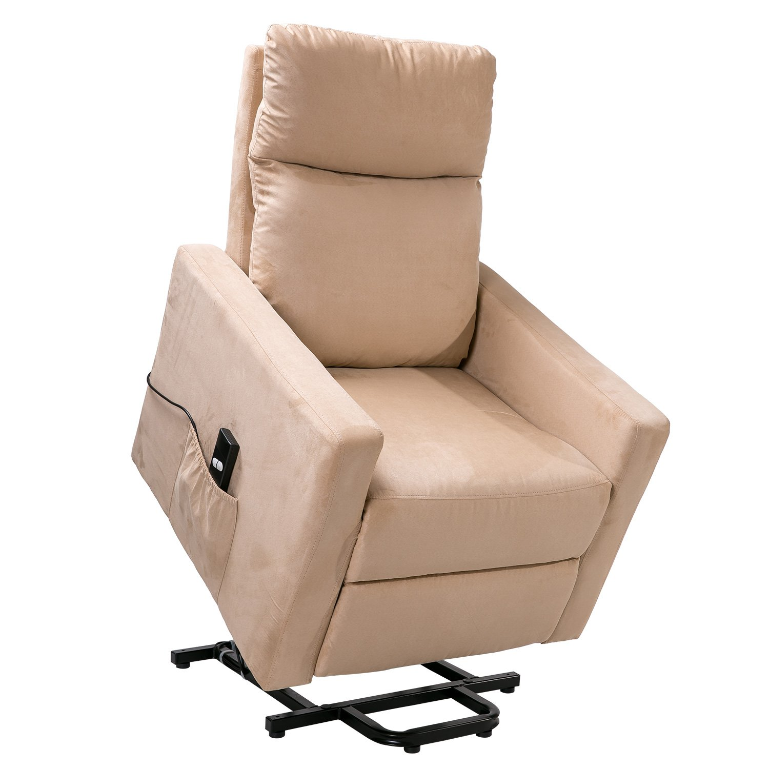 Merax Power Lift Chair and Power Recliner in Suede Fabric, Living Room Recliner with Heavy Duty Reclining Mechanism