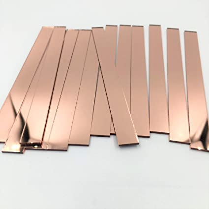 Amazon Com Nuorui 3 8 X 5 Glass Mosaic Rectangles Rose Gold Mirror Mosaic Tiles Pack Of 50