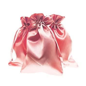 Linen and Bags Satin Silk Smooth Drawstring Bags Party and Crafts 50 Pack (Light Pink, 6 x 9)